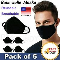 5 Pack Unisex Cotton Cloth Face Mask Reusable And Washable Masks Cover Black/