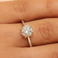 Engagement Ring Diamond Round Cut Solitaire Size 6 In 18k White Gold 1 Carat