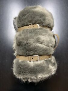 Restoration Hardware Luxe Fur Throw Blanket Wolf Grey w/ Leather Strap 50X60