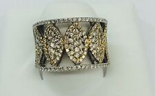 14kt Two-Tone Gold Modern Wide Coctail Diamond Cluster Ring 2.06TCW (size 6.5)