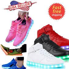 Unisex LED Light High Top Shoes Lace Up Luminous Casual Men Women Sportswear