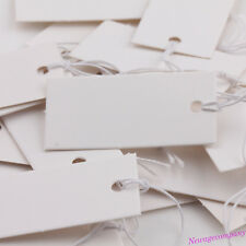 100PCS White Blank Paper Jewelry Clothes Label Price Tags With Elastic String