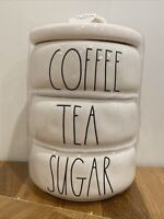 "New Rae Dunn LL ""COFFEE , TEA, SUGAR""  STACKED CANISTERS Ivory Magenta Farmhouse"