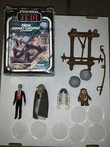 VINTAGE KENNER STAR WARS EWOK ASSAULT CATAPULT NEAR COMPLETE LOT ++ WITH FIGURES