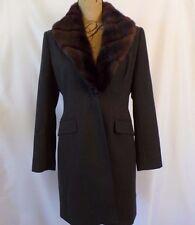 Tahari Petite Medium 8P Lined Charcoal Gray Removable Faux Fur Collar Wool Coat