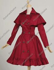 Victorian Lolita Trench Cape Coat Dress Steampunk Reenactment Clothing C018 XL