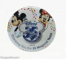 Disney Store 25th Anniversary Button Mickey Minnie 2012