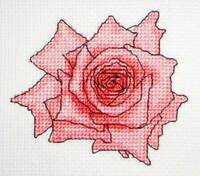 "Pink Rose modern counted cross stitch pdf pattern chart 6"" x 4"" flower card gift"