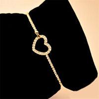 Hollow Love Heart-shaped Bracelet Rhinestone Bangle Cuff Chain Jewelry JA