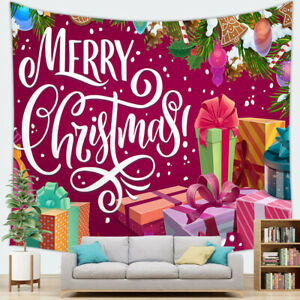 Christmas Tree Wall Hanging Cloth Red Santa Claus Bedside Background Tapestry