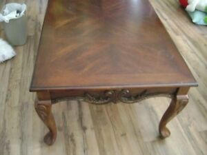 Antique Coffee Table Set of 3 Ornate Cherry Brown Wood Finish Vintage Home Decor