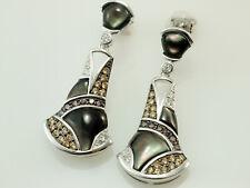 925 Silber Ohrringe mit Zirkonia Steinen und scharzem Perlmutt 1 Paar