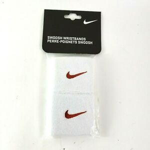 NIKE Wristband SET 2 NEW Red w/ White SWOOSH UNISEX Sweatbands tennis basketball