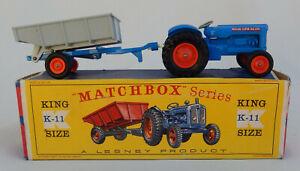 Vintage Lesney Matchbox King Size No. K-11 Fordson Tractor & Trailer