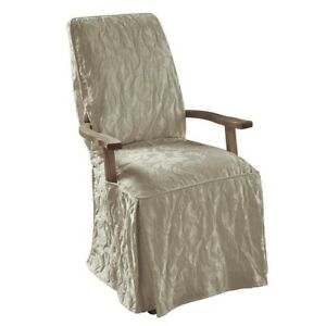 Sure Fit Matelasse Damask Long arm Dining Chair Slipcover Gray tan washable 558