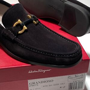 Ferragamo Gancini Bit GRANDIOSO 2 Black Suede 12 EE 45 Dress Loafers Mens Casual