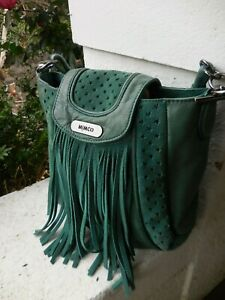 MIMCO GREEN distressed LEATHER X BODY SHOULDER BAG