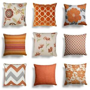 "Orange Cushion Covers Terracotta Spice Luxury Throw Filled Cushions 17"" 18"""