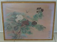 "1950's LARGE HERO NIM SIGNED JAPANESE ART FLORAL PAINTING ON SILK ~ 29"" x 23"""