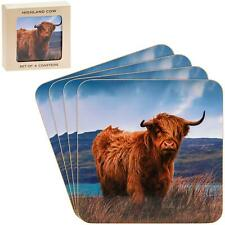 Set Of 4 Highland Cow Cork Laminated Tea Coffee Cup Coasters Gift