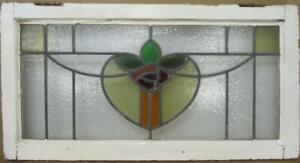 "OLD ENGLISH LEADED STAINED GLASS WINDOW TRANSOM Pretty Rose Design 30"" x 15.75"""