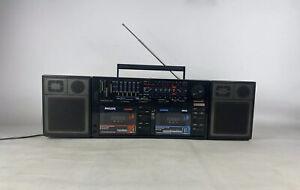 Philips Tandem D8458  Boombox Twin Cassette Detachable Speakers Ghetto Blaster