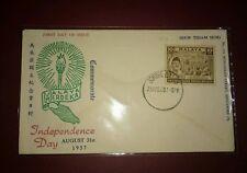 Malaysia 1957 Merdeka Malaya Tunku Abdul Rahman stamp FDC ~ Torch Fire design