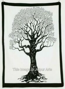 Dry Tree Of Life Home Deco Wall Hanging Indian Tapestry Ethnic White Boho Poster