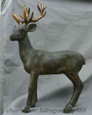 "19.2 ""Vieille Chine Bronze Doré Feng Shui Animal sika cerf Art Statue"