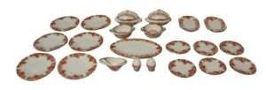 1/12th Scale Dolls House Pink Rose Dinner Set.