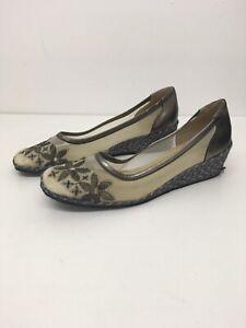 Women's Roland Cartier Metallic Brown Embroidered Slip On Wedge Heel Shoes UK6.5