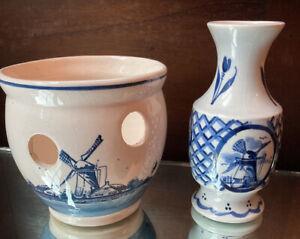 Pair Blue Delft Pcs. CROCUS PLANTER & Vase