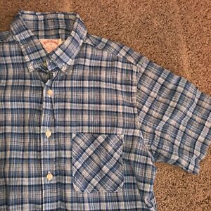 Md Brooks Brothers Button Up Down Casual Dress Shirt Blue Striped Plaid