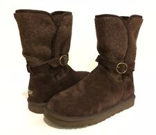 UGG Australia NYLA Boots Wool Knit Suede Brown US 8 /EUR 39 /UK 6.5 -NIB