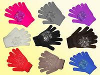 Damen Fingerhandschuhe Handschuhe m. Glitzerbesatz Farbe wählbar one Size NEU