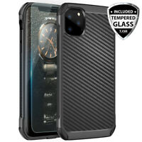 For Apple iPhone 11/Pro/Max Black Carbon Fiber TPU Armor Case+Tempered Glass