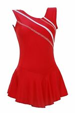 Skating Dress -Red LYCRA / Metalic stripes NO SLEEVE ALL SIZES AVAILABLE