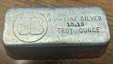 10 oz SB .999 Silver VINTAGE Hand Poured Bar Ingot 10.19 Troy Ounces FREE SHIP