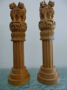 Two Hand Carved Wooden 4 Lions Pillar Ornaments
