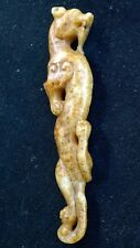 """Antique Nephrite Jade  Curling Dragon Amulet  Qing Dynasty 5"""" Long."""