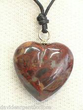 Ciondolo in ARGENTO 925 con cuore in AGATA naturale e girocollo - pietra dura -