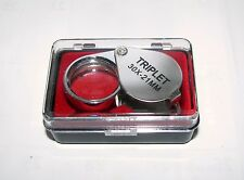 Einschlaglupe 21mm - Taschenlupe - Vergrößerung 30 Fach -  Verchromtes Gehäuse -