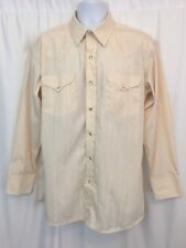 Mens Dress Shirt Panhandle Slim Western Off White L/S Pearl Snap Size 16.5 35
