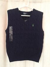 NWT Polo Ralph Lauren Boys Navy Blue V Neck Cable Vest Size 4 New