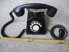 Altes funktionierendes Post - Wählscheibentelefon mit Doppelglocke Textilkabel