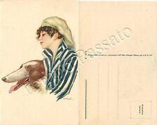 Donna con cane Collie / illustratore Nanni