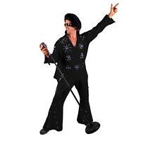 Men's Professional Rock N' Roll King Elvis Jeweled Jumpsuit Cape Costume Black