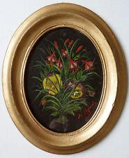 Ancienne petite peinture fleurs pensé Signé H. COGNET vers 1910  painting