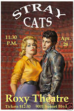 Rock: The Stray Cats at   Roxy Theatre in Los Angeles Concert Poster Circa 1982