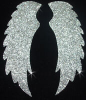 FABRIC WING B n GLITTER iron-on APPLIQUE TRANSFER PATCH